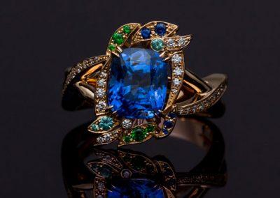 Bague Diamant Grenat Tsavorite Saphir Tourmaline Paraiba