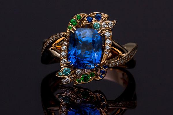 Garnet Diamond Ring Tsavorite Sapphire Tourmaline Paraiba