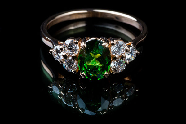 Bague Grenat Tsavorite Diamants Monture Or Rose