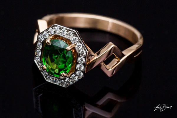 Bague Grenat Tsavorite Or Rose Monture Or Rose