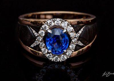 Bague Saphir Diamant Montage En Or Blanc Et Ebène