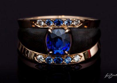 Bague Saphir Diamant Monture En Or Rose