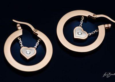 Boucles Oreilles Coeur Diamant Montage En Or Rose