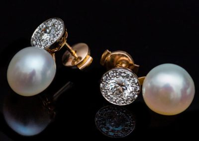 Boucles Oreilles Perle Diamant Or Rose Or Blanc