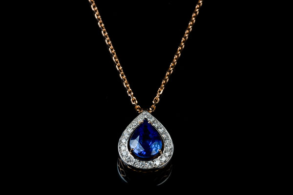 Pear Sapphire Pendant Necklace Mount In Rose Gold And White Gold
